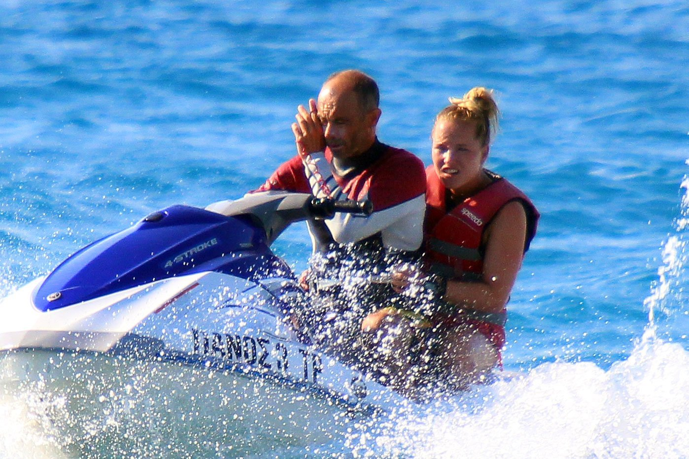 Kim & Manu are not happy when they have to use a jetbike