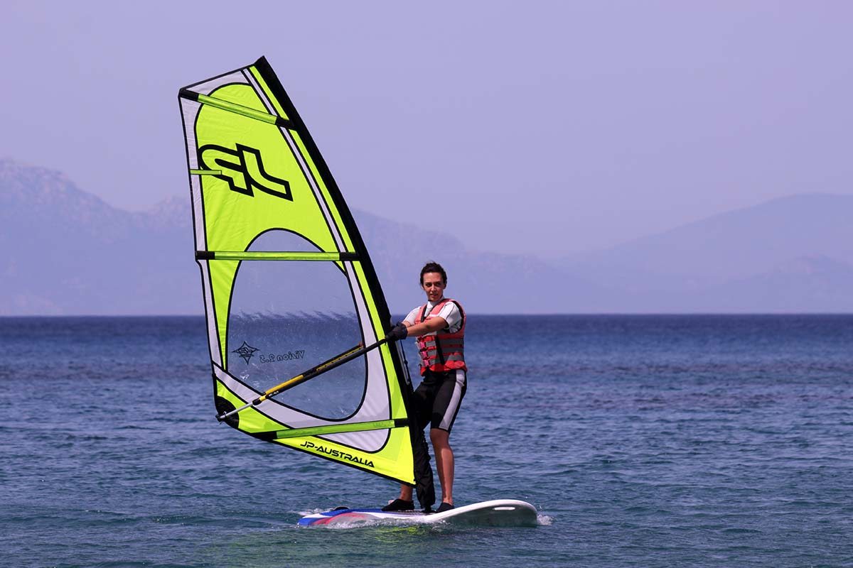 Beginner Windsurfer on JP Sail