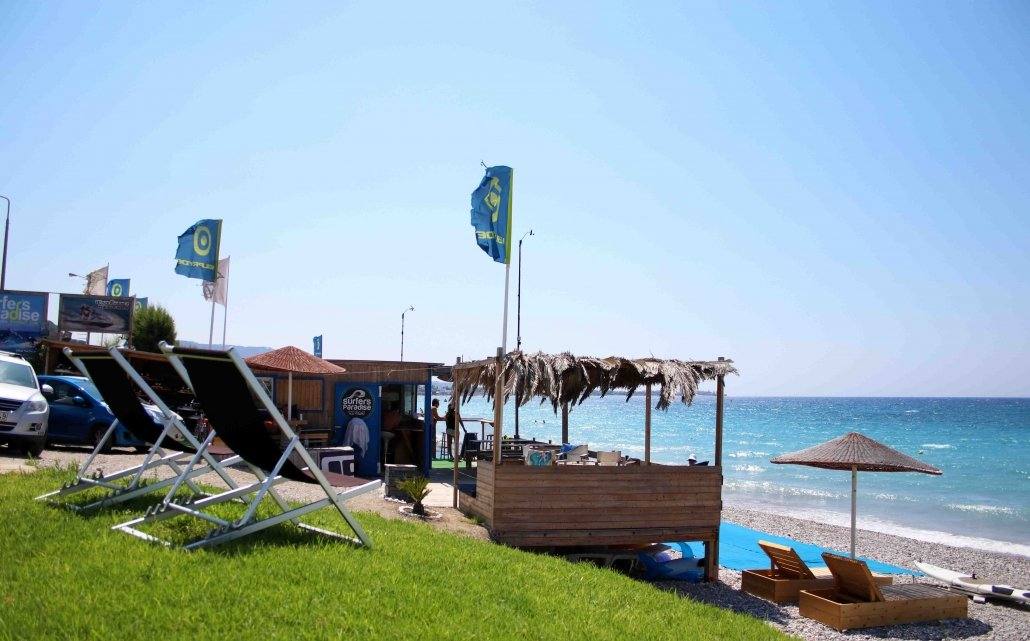 Surfers Paradise windsurf center in Rhodes, Greece.