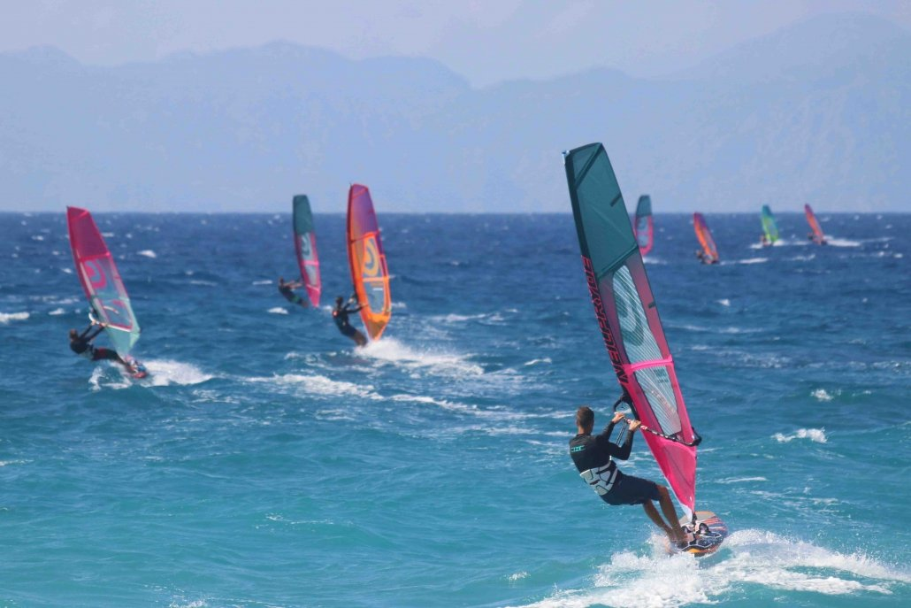 JP australia and Neilpryde sails at Surfers Paradise, Ixia, Rhodes, Greece.